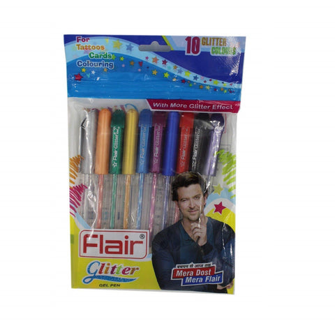 Flair Glitter Gel Pen (Pack of 5) M.R.P Rs. 500/-
