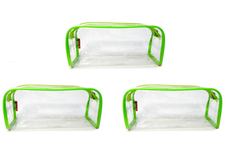 Transparent Travel Morning Toiletry Shaving Multi-Purpose Pouch (Green, 3 pc)