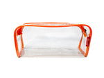 Transparent Travel Morning Toiletry Shaving Multi-Purpose Pouch (Orange, 3 pc)
