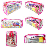 Transparent Travel Morning Toiletry Shaving Multi-Purpose Pouch (Pink, 3 pc)
