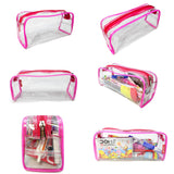Transparent Travel Morning Toiletry Shaving Multi-Purpose Pouch (Pink, 1 pc)