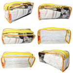Transparent Travel Morning Toiletry Shaving Multi-Purpose Pouch (Yellow, 2 pc)