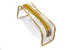 Transparent Travel Morning Cosmetic Makeup Shaving Multi-Purpose Pouch Gold Satin -Combo, Set of 3