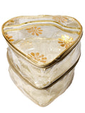 Multipurpose Transparent Make Up Organiser Heart Shape Gold, Double Decker