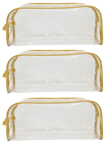 Transparent Travel Morning Cosmetic Makeup Shaving Multi-Purpose Pouch Gold Satin - Large , Set of 3