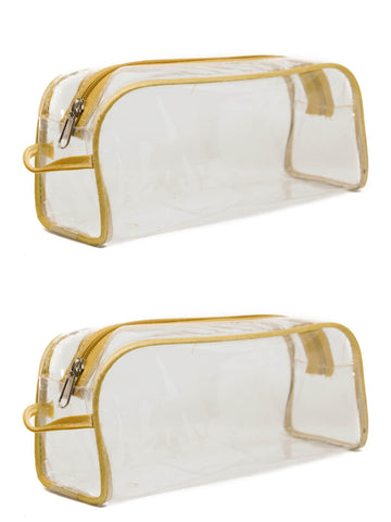 Transparent Travel Morning Cosmetic Makeup Shaving Multi-Purpose Pouch Gold Satin - Large , Set of 2
