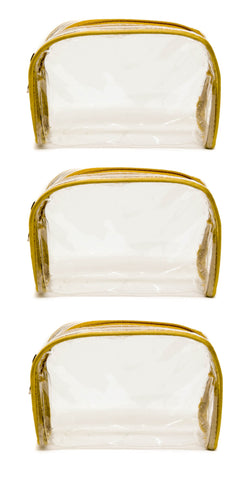 Transparent Travel Morning Cosmetic Makeup Shaving Multi-Purpose Pouch Gold Satin - Small, Set of 2