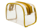 Transparent Travel Morning Cosmetic Makeup Shaving Multi-Purpose Pouch Gold Satin - Small, Set of 1