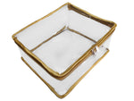 Travel Transparent Pouch for Clothes Cosmetic Toiletry Hygiene Products Gold Satin Large - Set of 2