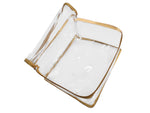 Travel Transparent Pouch for Clothes Cosmetic Toiletry Hygiene Products Gold Satin Large - Set of 1