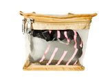 Multipurpose Transparent Zipper Travel Pouch ECO Set of 2 (Beige, Semi Medium)