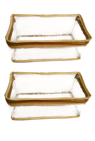Transparent Travel Morning Cosmetic Socks Multi-Purpose Pouch Gold Satin - Set of 2