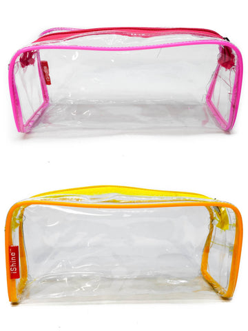 Transparent Travel Morning Toiletry Shaving Multi-Purpose Pouch (Assorted, 2 pc)