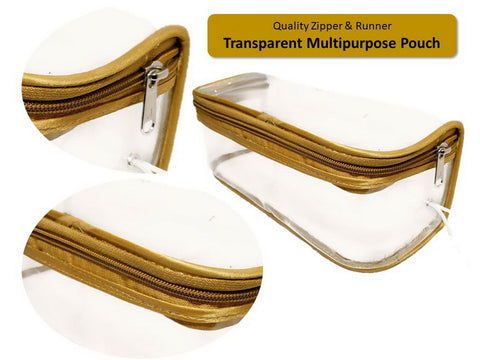 Transparent Travel Morning Cosmetic Makeup UG  Lingerie Pouch Gold Satin - Large Top Open  , Set of 3