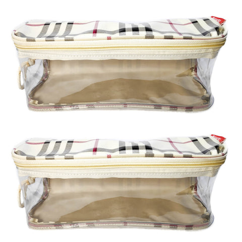 Travel Morning Cosmetic Makeup Shaving Multi-Purpose Pouch Large Top Open Checks - Set of 2