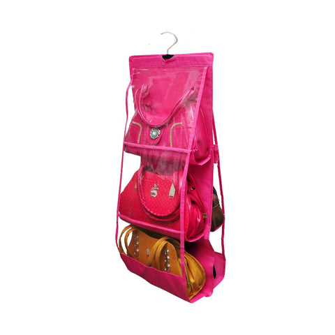 Large Clear Purse Hanging Storage Organizer Closet Tidy Handbag Color - Pink/Black