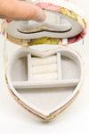 Velvet Soft Earring Ring Jewellery Organiser Floral Lace Heart Shape with mirror - Cream - 1 pc