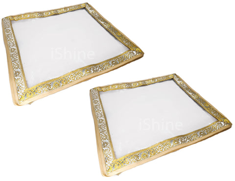 Transparent Sari Storage Cover Pouch Golden Lace - 2 inch Height - 2pc