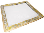Transparent Sari Storage Cover Pouch Golden Lace - 2 inch Height - 1pc
