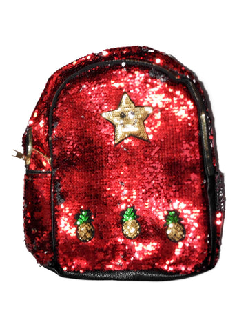 Star Pineapples Sequin Fashion Outdoor School College Daily Use Backpack Daypack Stylish - RED