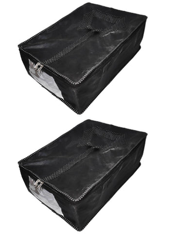 iShine Travel Parachute Men Multi Shirt Organiser Pouch Storage (Black) (Set of 2)