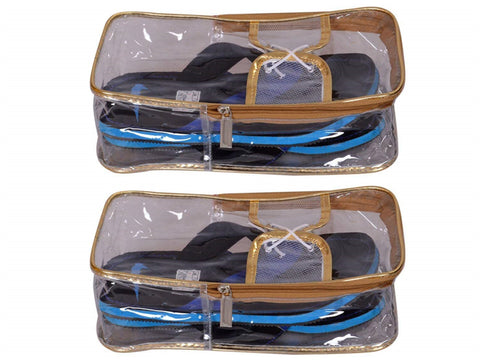 Single Shoes Pouch Travelling Waterproof Organizer Bag Socks Easy Carry Cover Bag (Transparent, Set of 2)