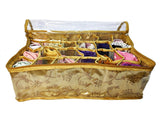 Inner Wear Garment Organiser Pouch Box 24 Partition Section Top Quality Golden JAMA Cloth 35x27x11 cm