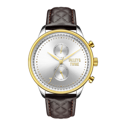 [WOMEN'S 41mm] Worley Chronograph - Silver & Gold w/ Dark Brown Leather