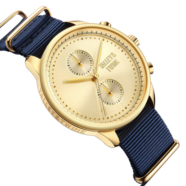 **PRE-ORDER! SHIPPING BY OCTOBER 15TH!** 46mm Men's Worley Chronograph Gold w/ Navy Canvas Band