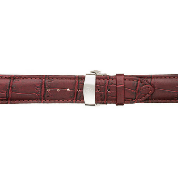 Men's Oxblood Calfskin Leather Watch Band w/ Silver Accents