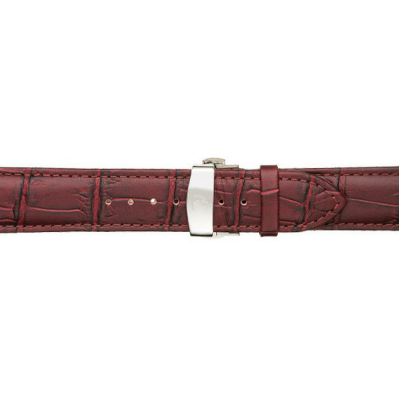 22mm Men's Oxblood Calfskin Leather Watch Band w/ Silver Accent