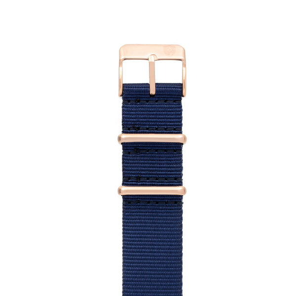 20mm Women's Navy Canvas Nato Watch Band w/ Rose Gold Accent