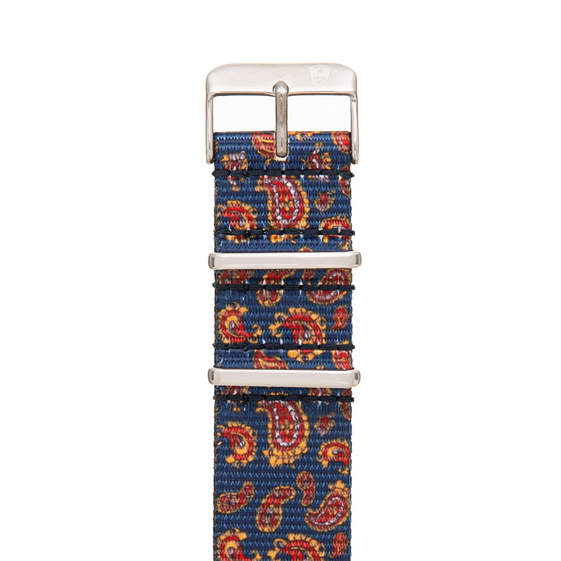 20mm Women's Paisley Canvas Nato Watch Band w/ Silver Accent