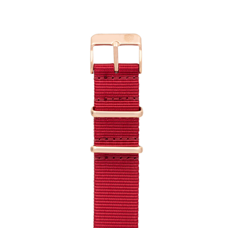 20mm Women's Red Canvas Nato Watch Band w/ Rose Gold Accent