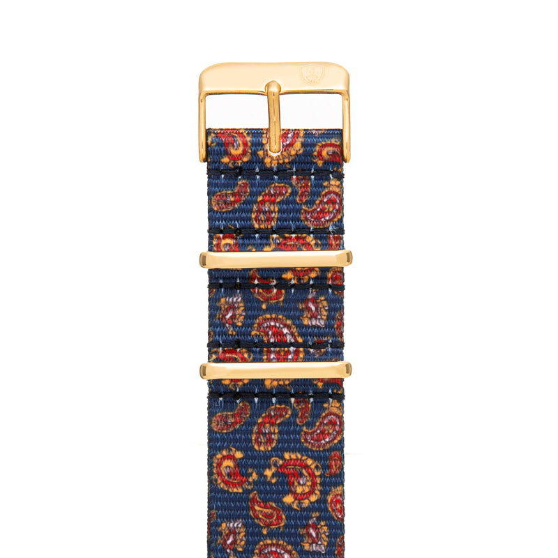 20mm Women's Paisley Canvas Nato Watch Band w/ Gold Accent