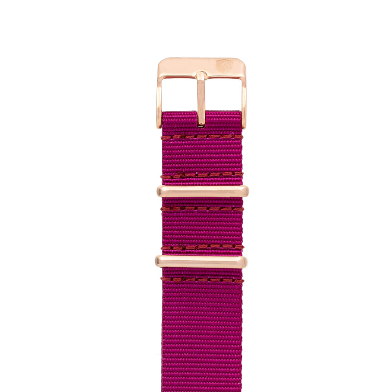 20mm Women's Plum Canvas Nato Watch Band w/ Rose Gold Accent