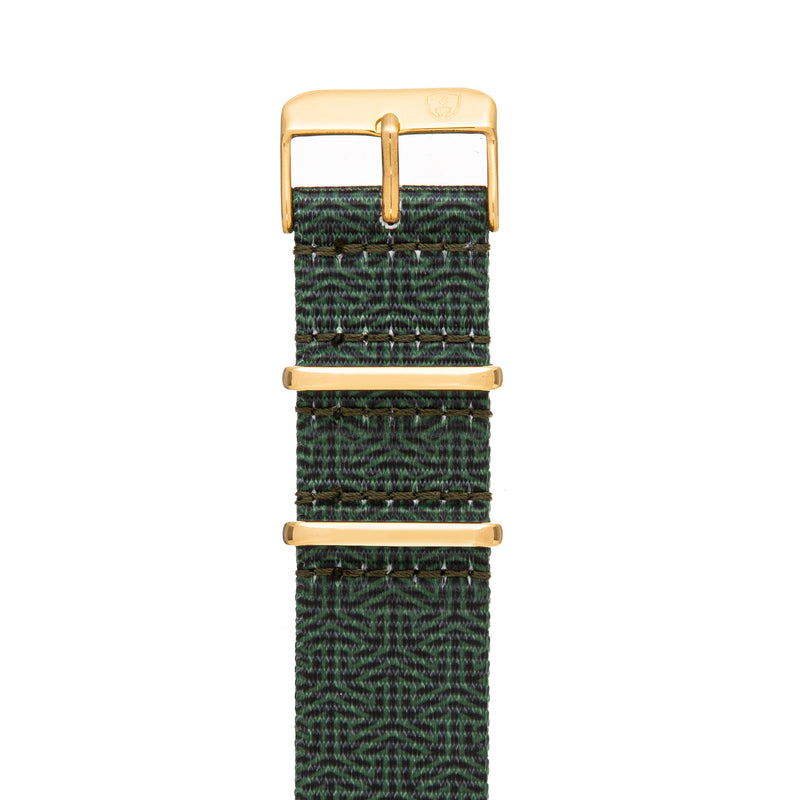 Men's 22mm Green Canvas Nato Watch Strap w/ Gold Accents