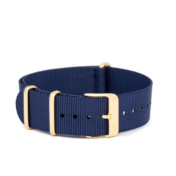 20mm Women's Navy Canvas Nato Watch Strap w/ Gold Accent