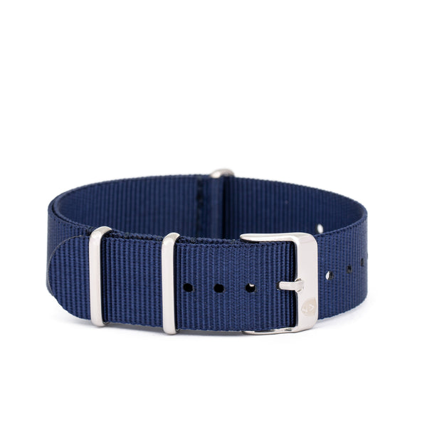 Women's 20mm Navy Canvas Nato Watch Strap w/ Silver Accents