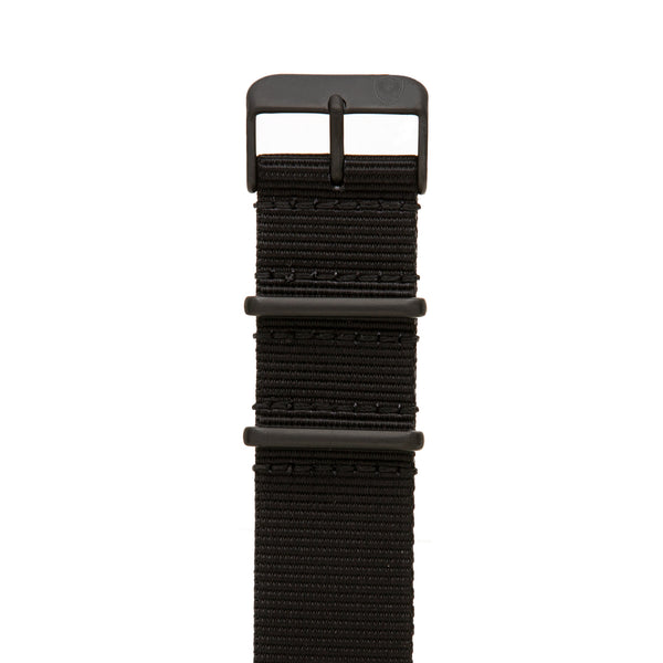 22mm Men's Black Canvas Nato Watch Band w/ Black Accent
