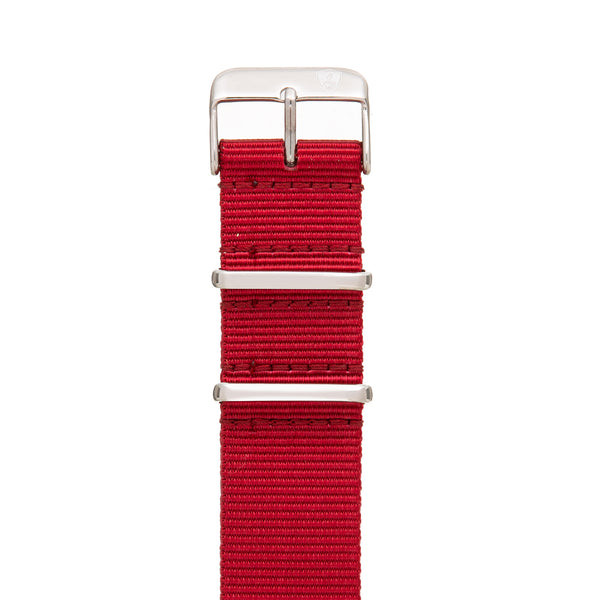 Men's 22mm Red Canvas Nato Watch Strap w/ Silver Accents
