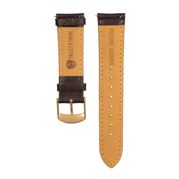 Women's Dark Brown Leather Band w/ Gold Accents