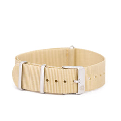 20mm Women's Tan Canvas Nato Watch Band w/ Silver Accent