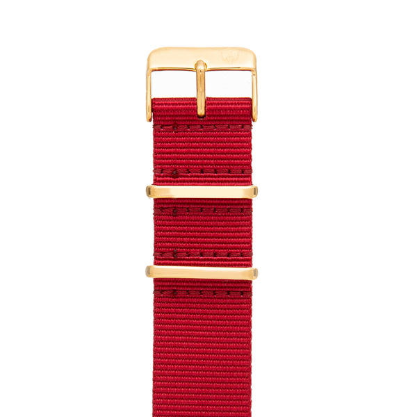 22mm Men's Red Canvas Nato Watch Band w/ Gold Accent