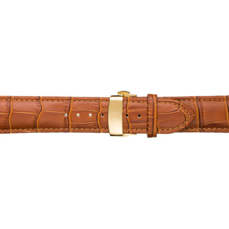 22mm Men's Tan Calfskin Leather Watch Band w/ Gold Accent
