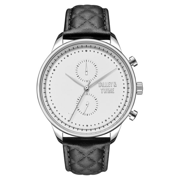 [WOMEN'S 41mm] Silver Worley Chronograph White Face - Black Leather
