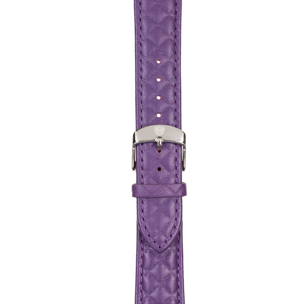 20mm Women's Purple Leather Band w/ Silver Accent