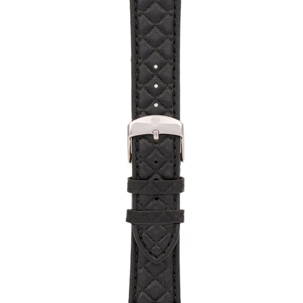 20mm Women's Black Leather Band w/ Silver Accent