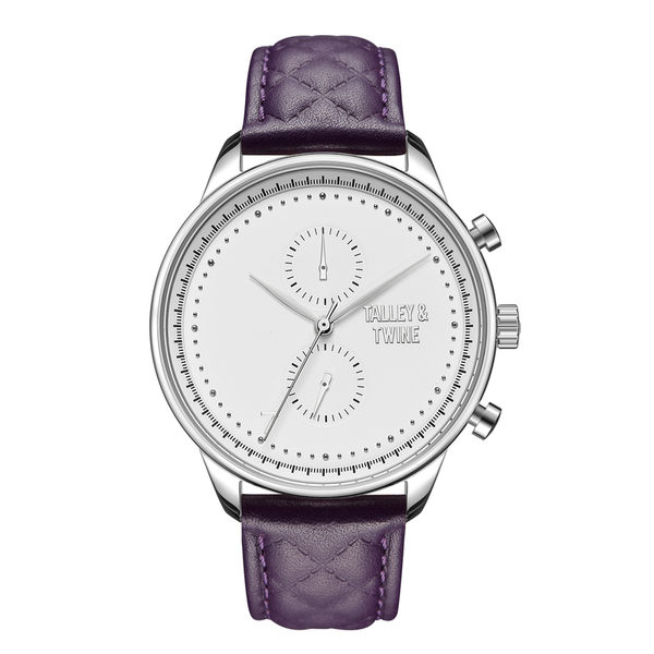 [WOMEN'S 41mm] Silver & White Worley Chronograph - Purple Leather