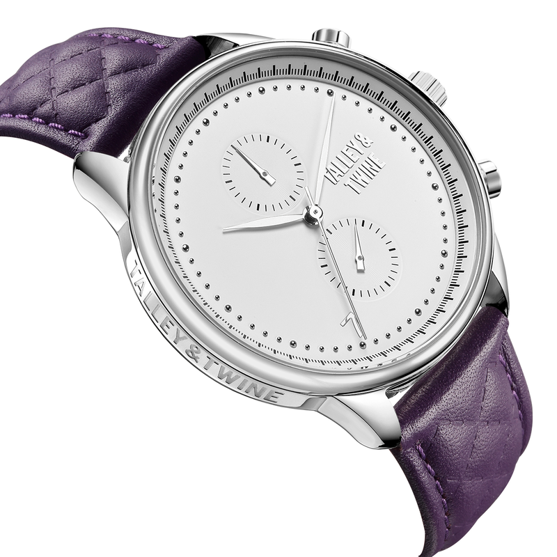 [WOMEN'S 41mm] Silver & White Worley Chronograph with Purple Leather